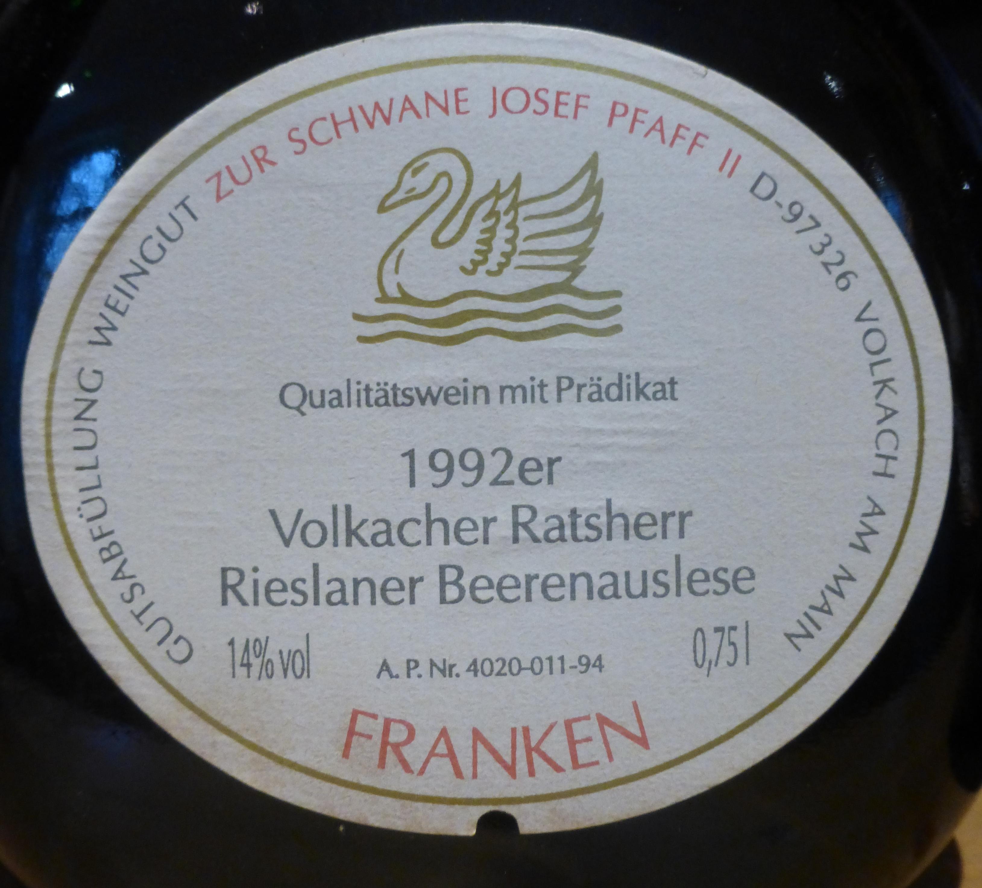 1992 Volkacher Ratsherr Rieslaner Beerenauslese, Weingut Zur Schwane